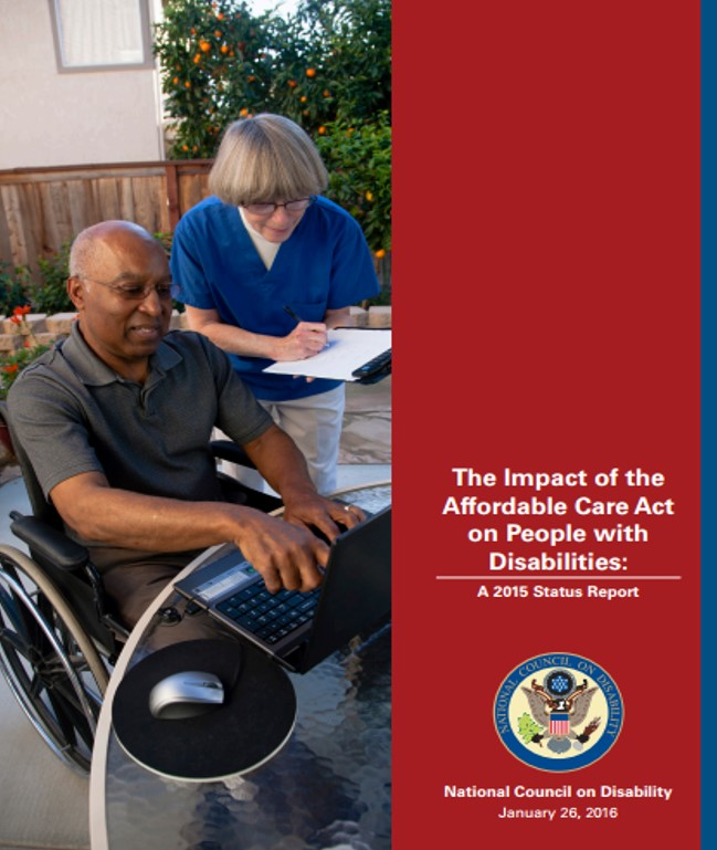 Report cover of NCD's second ACA report, depicting an African-American man in a wheelchair sitting at a patio table outdoors at a laptop with a Caucasian nurse looking over his shoulder at the screen while writing down something on a clipboard