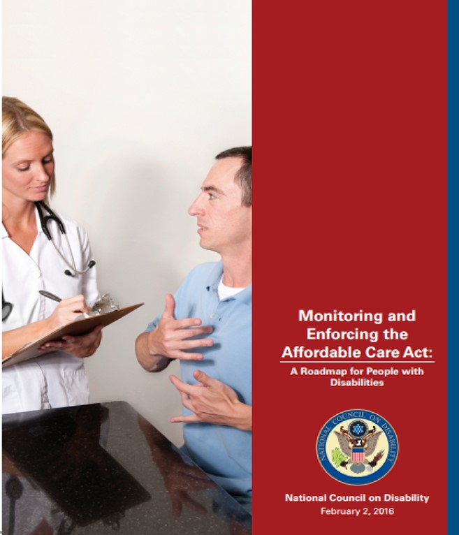 Report cover for NCD's third ACA report depicting a Caucasian man signing with his hands to a Caucasian nurse who is writing on a clipboard