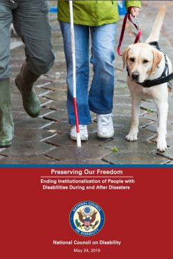 Photo shows two people, waist down, walking on a wet sidewalk with a blonde lab seeing eye dog on the far right of the picture, held by a leash by the person in the middle of the picture. The person on the far left of the photo is wearing gray pants and green galoshes, and the person in the center of the photo is wearing blue jeans, a lime green jacket, and white shoes. The person in the center of the photo is holding a white cane in one hand and a red leash to the seeing eye dog in the other.